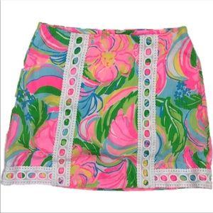 Lilly Pulitzer Pink Floral Print Mini Skirt